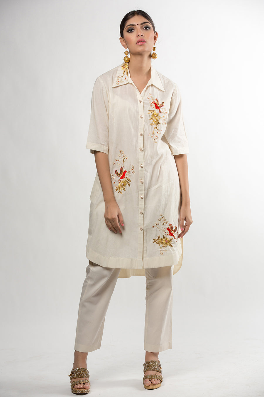 White Embroidered Basic Tunic with Collar