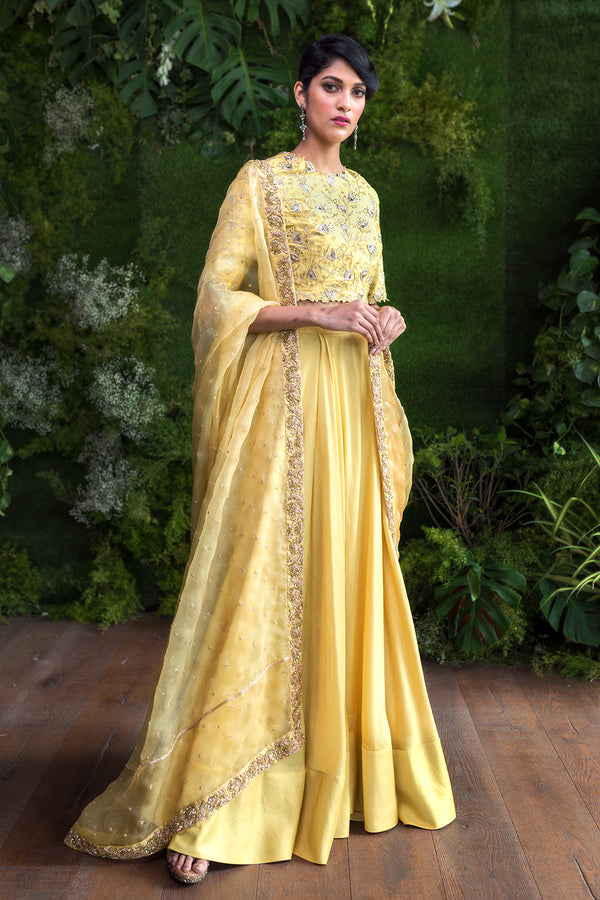 Yellow Blouse with a Plain Skirt and Dupatta
