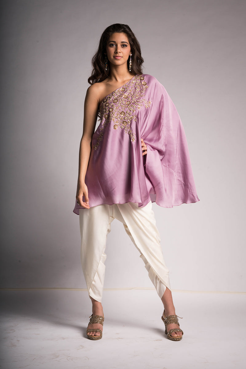 Lavender Flared Top with Dhoti