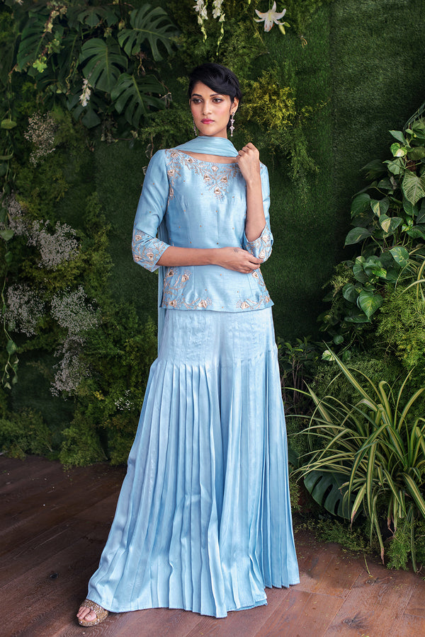 Aqua Blue Top and Gharara Pants