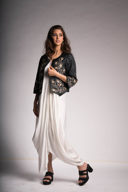 White Drape Dress with Black Overlay Jacket