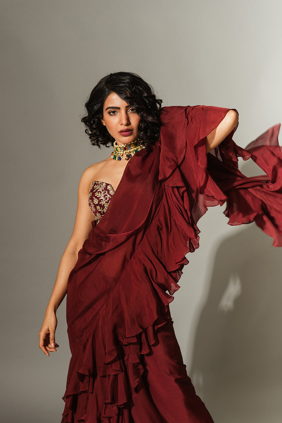 Maroon Saree with Strapless Blouse