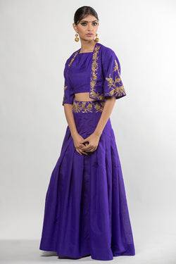 Violet Embroidered Crop Top and Skirt with Jacket