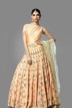 Peach Long Dress with Dupatta