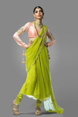 Parrot Green Saree with Pink Blouse