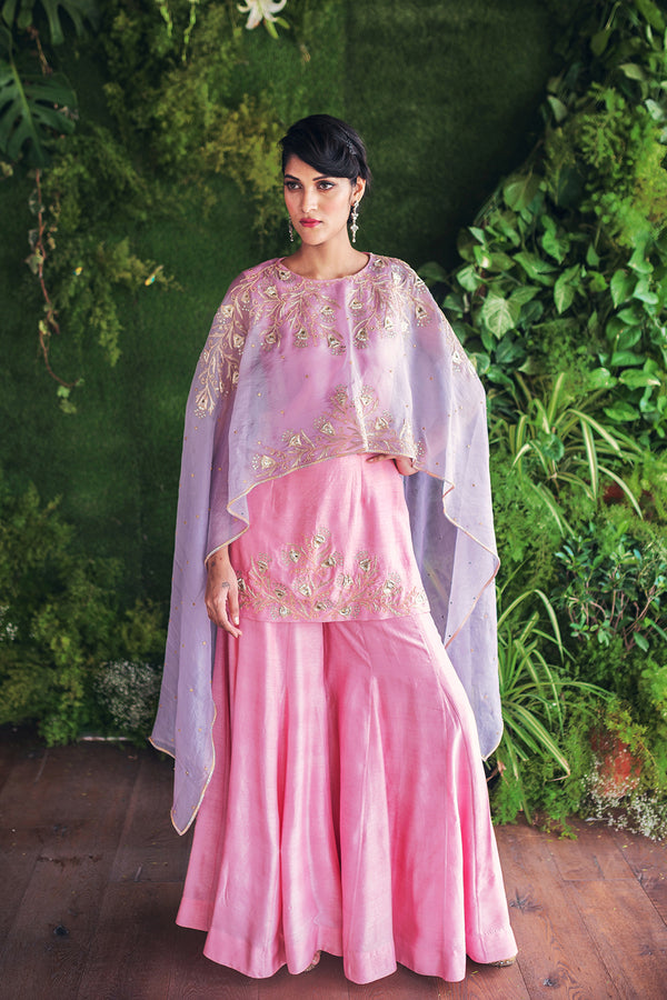 Pink Embroidered Kurthi and Flared Pants with Cape