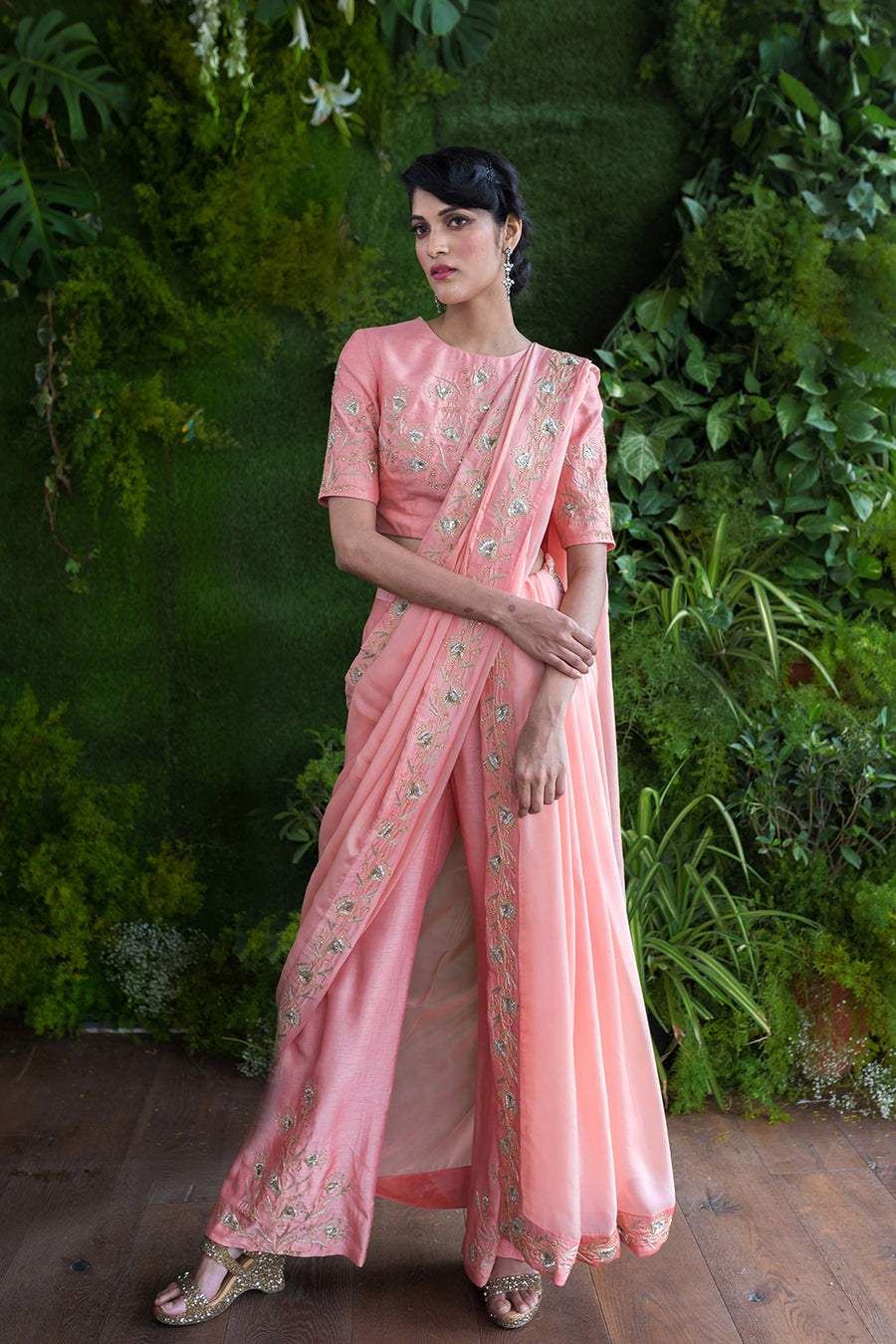 Salmon Pink Blouse and Pants with a Detached Saree