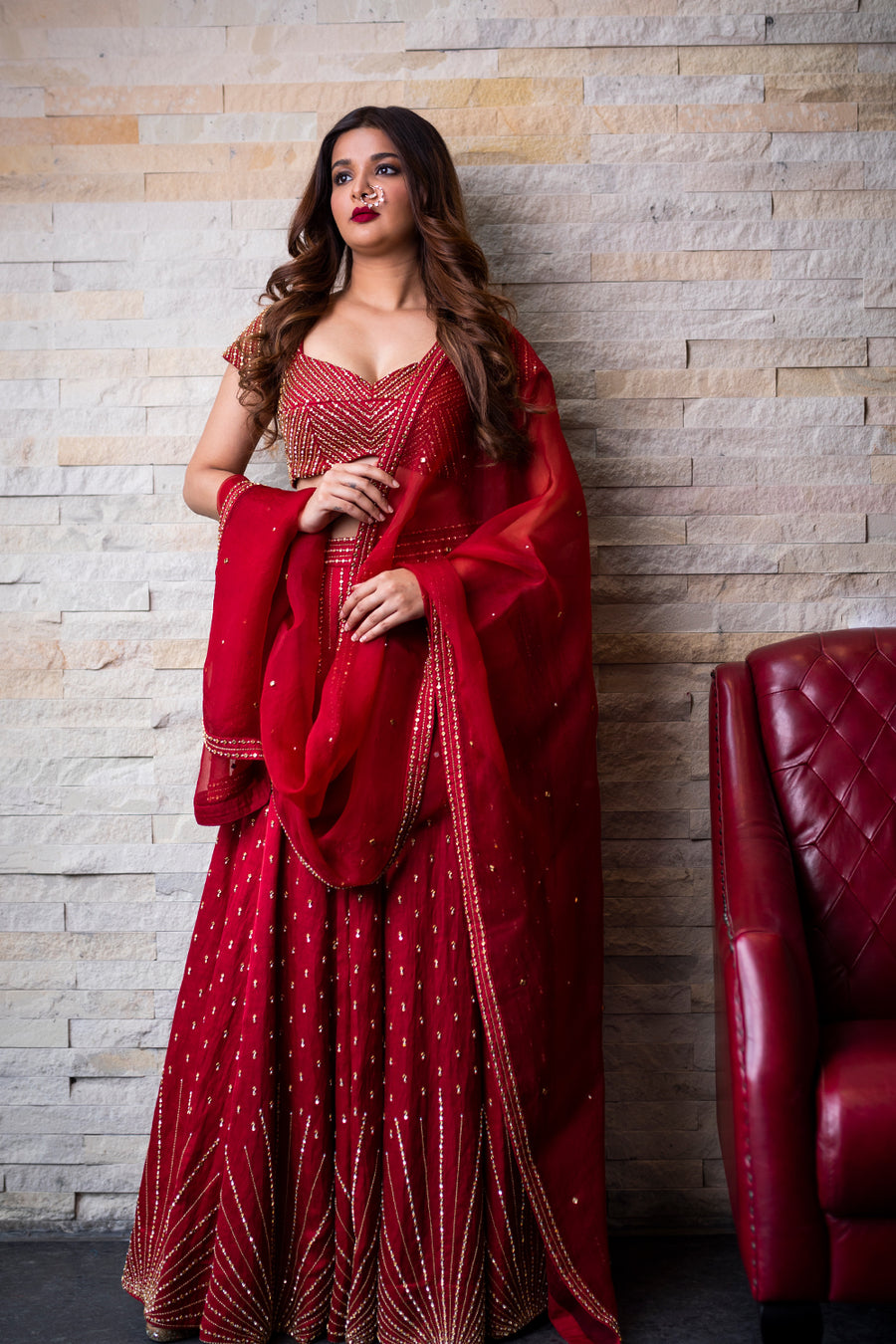 Red Lehenga with Organza Dupatta