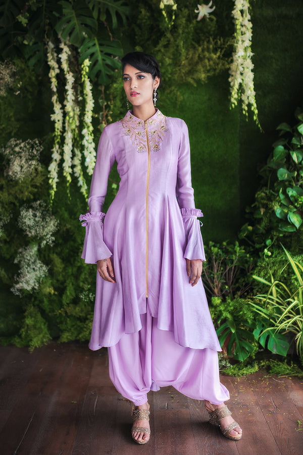 Lavender Zipper Tunic and Dhoti