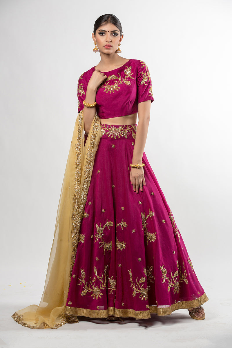Purple Lehenga Set with Dupatta