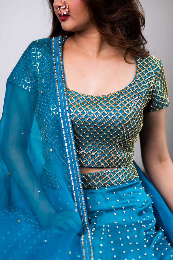 Teal Blue Lehenga with Organza Dupatta