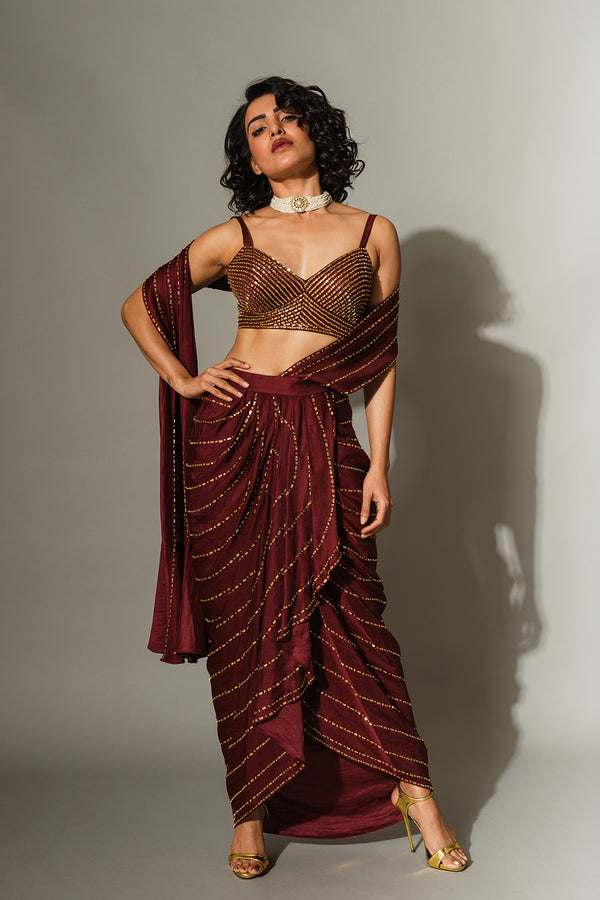 Maroon Drape Saree with a Blouse