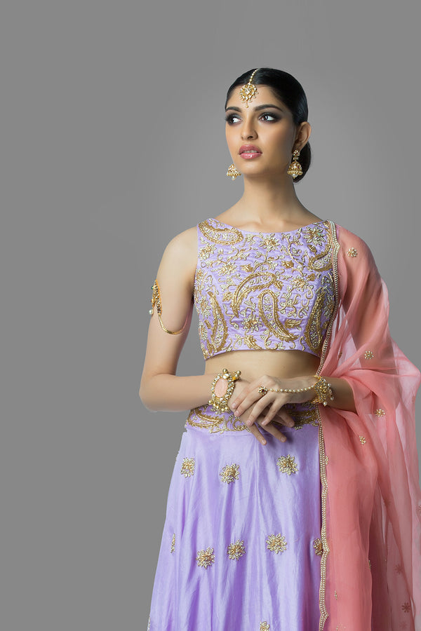 Lavender Lehenga Set with Pink Dupatta