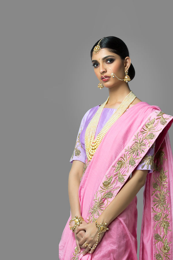 Pink Saree with Lavender Blouse