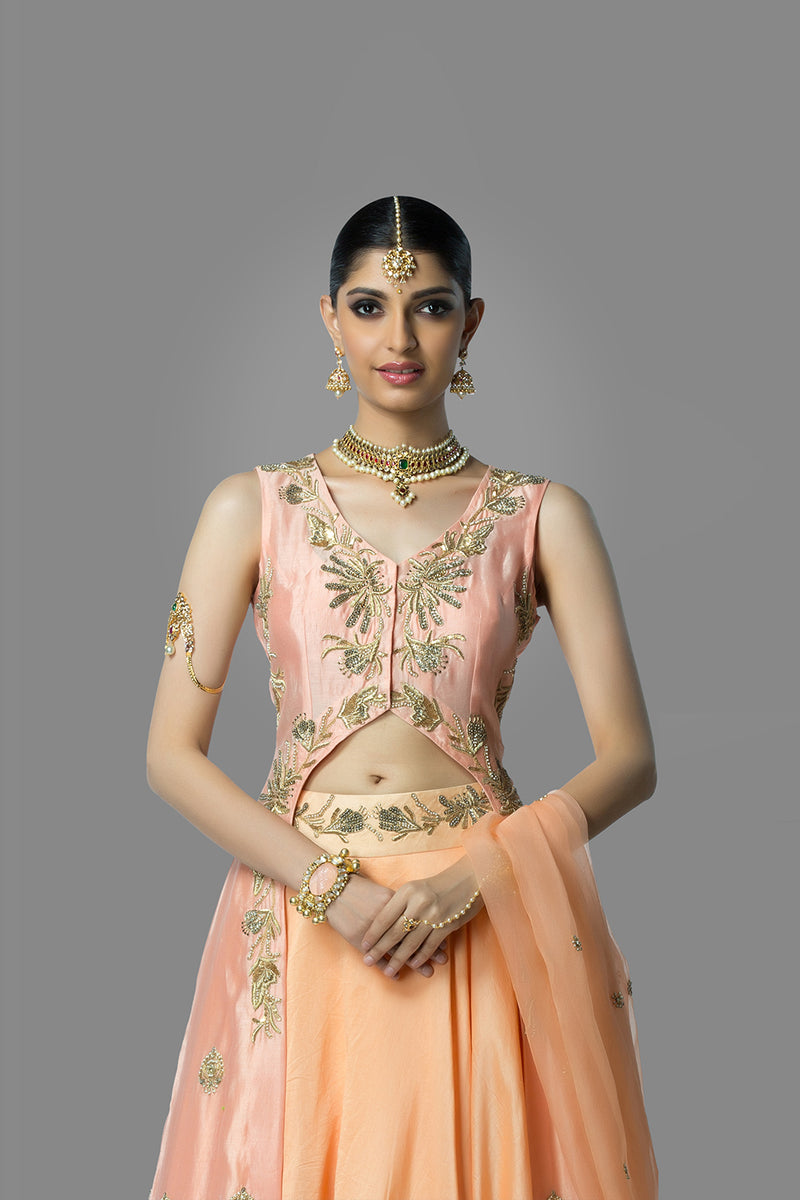 Pink Blouse with Peach Lehenga and Dupatta