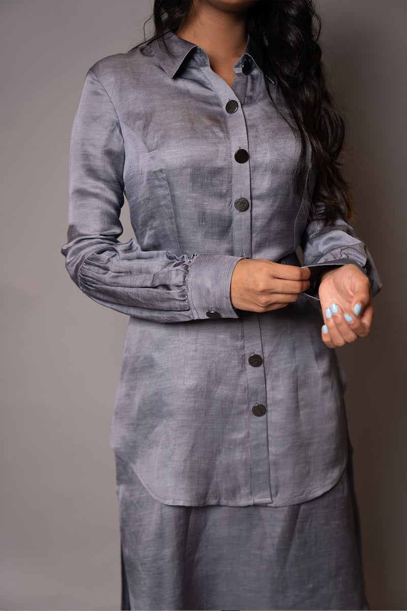 Grey Double Layered Belted Tunic