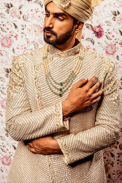 Ivory Heavy Embroidered Sherwani