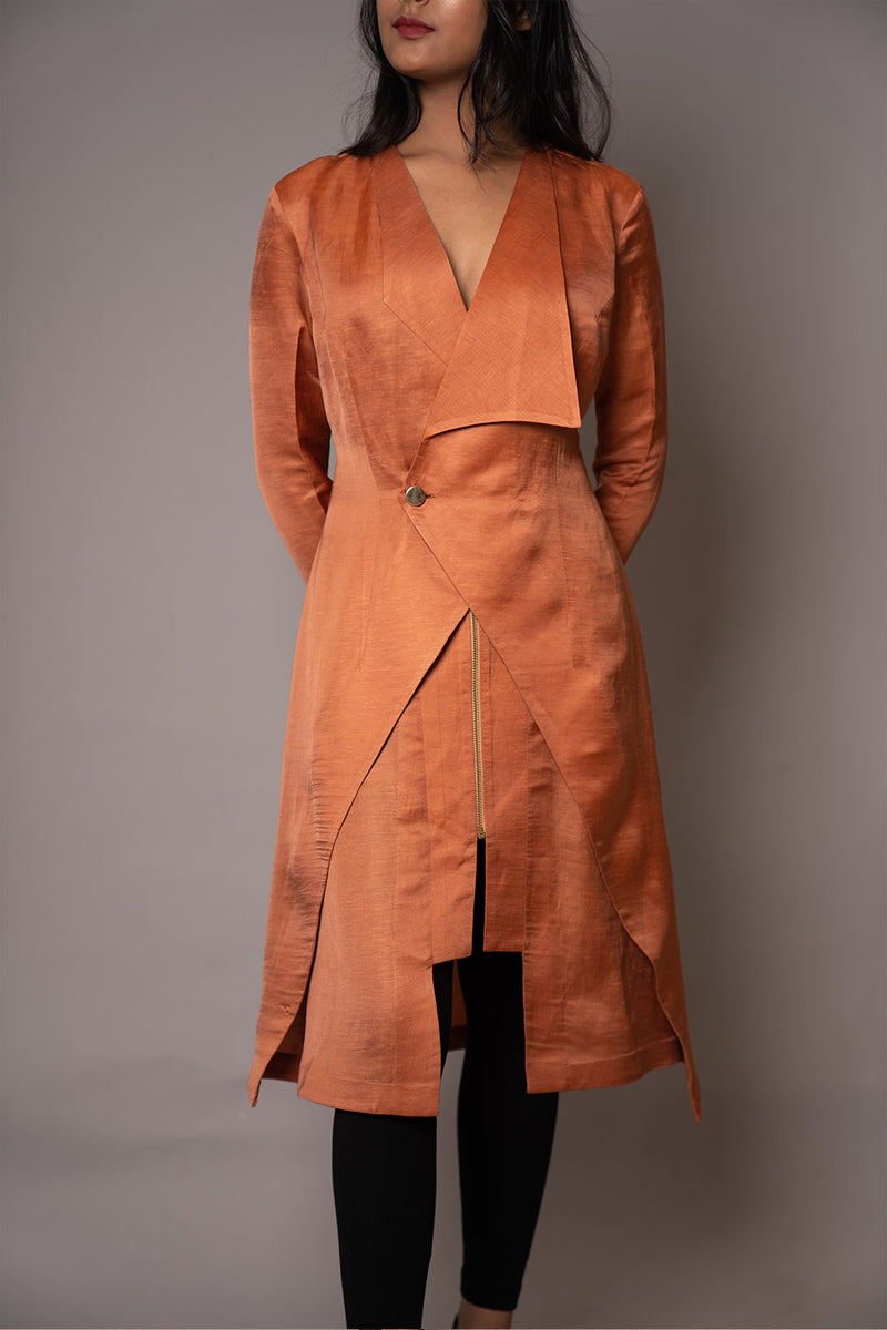 Rust Orange Oversized Flap Collar Tunic