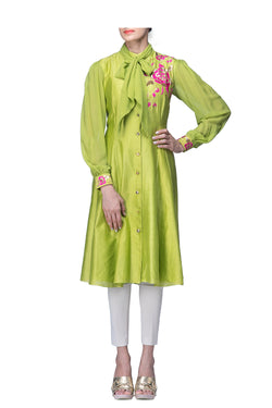 Parrot Green Tunic with Collar