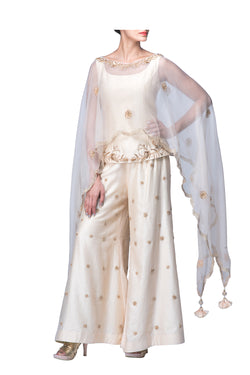 Ivory Cape Top with Pallazo Pants