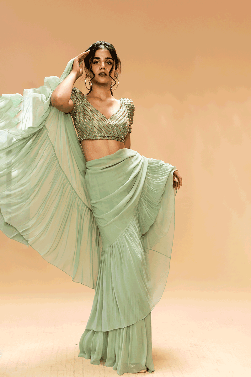 Dusty Green Saree With Blouse