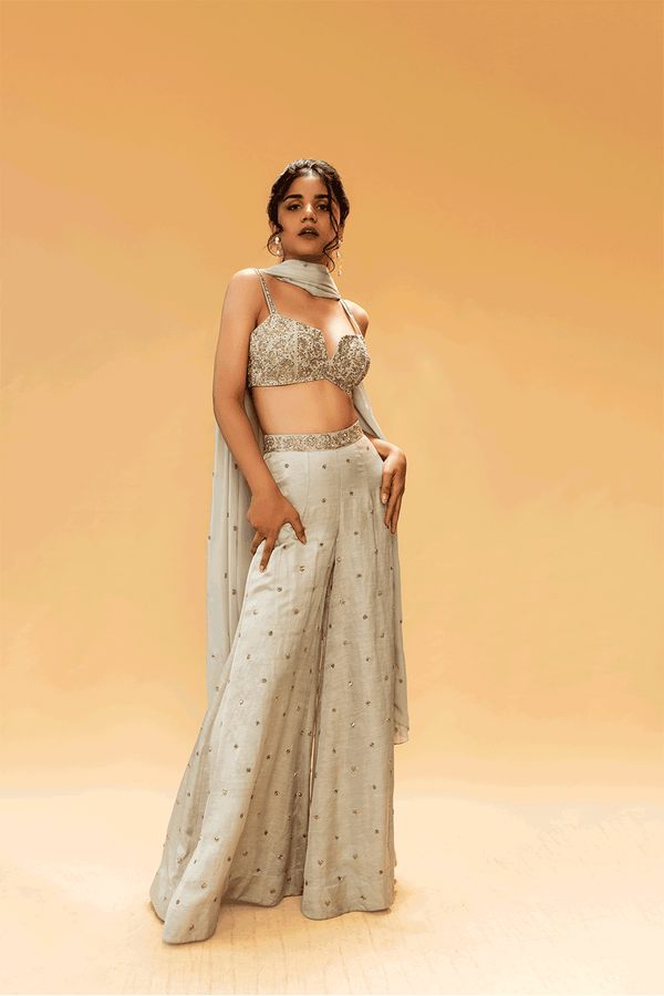 Ice Grey Top With Flared Pants And Dupatta