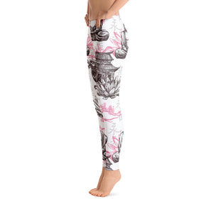 Buddha Dragon Lotus Leggings - Unique leggings, Animal print leggings, Plant print leggings, insects print leggings, custom leggings