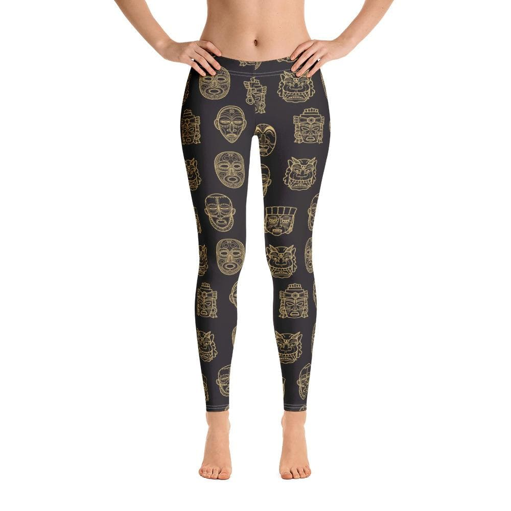 Tribal Face Mask Leggings - Unique leggings, Animal print leggings, Plant print leggings, insects print leggings, custom leggings