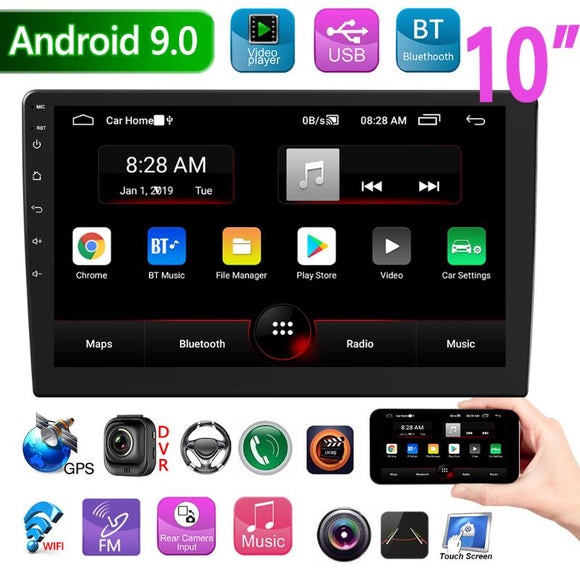 Double DIN Android 9.0 Car Stereo GPS Navigation Bluetooth WiFi FM Radio 10 inch IPS Screen In Dash Head Unit Receiver