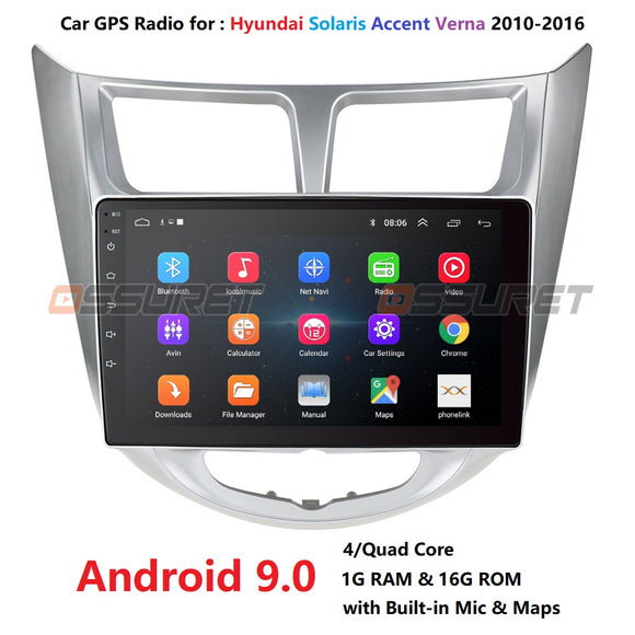Hyundai Solaris 1 2010-2016 Car Radio Multimedia Video Player Navigation GPS Android 9.0 No 2din 2 din dvd