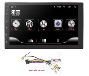 Universal Double Din Android 9.0 Car Multimedia Player GPS wifi bluetooth radio Quad Core Capacitive Touch Screen car stereo Mic USB