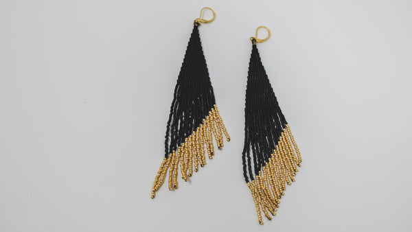Matte black + gold fringe earrings 'ECLIPSE'