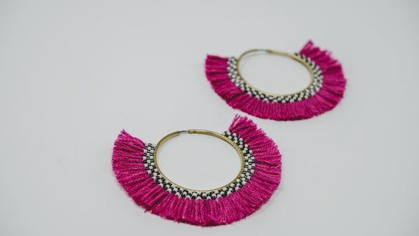 Beads + cotton hoops