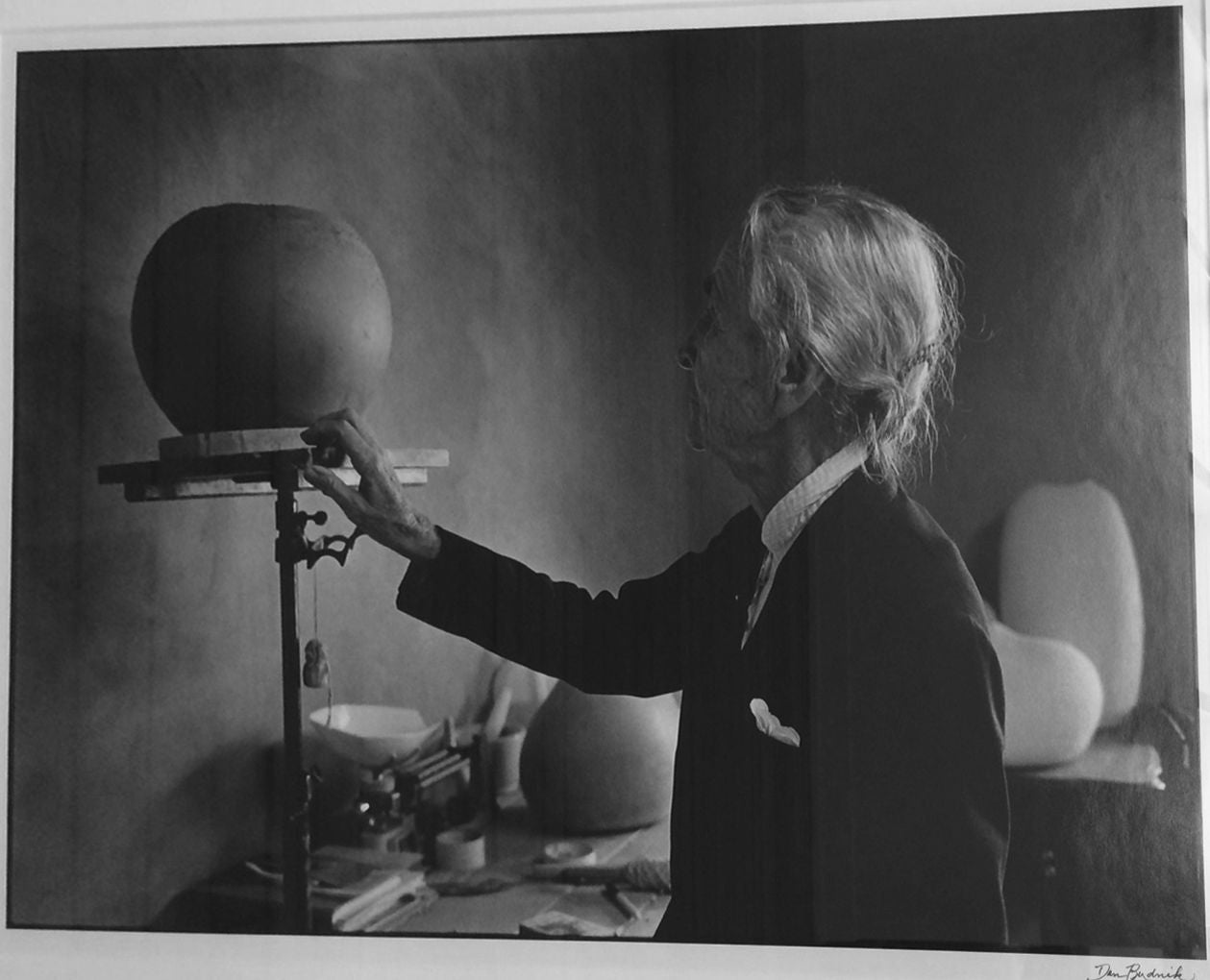 Georgia O'Keeffe (1887-1986), with pottery on stand, silver print on Ilford Paper Default Title