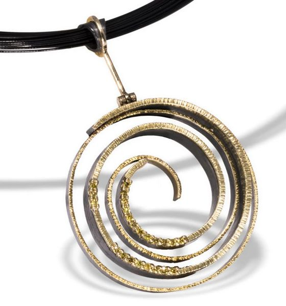 Spiral Gold and Silver Pendant with Diamonds