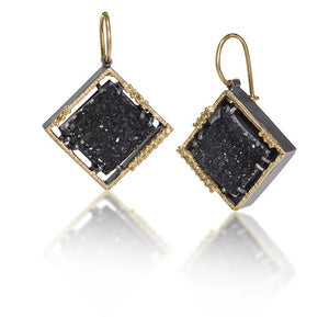 Spiral Square Drusy Earrings