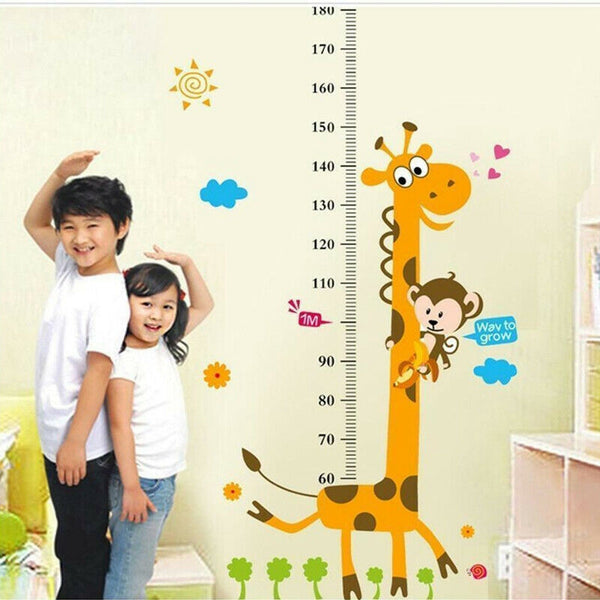 Removable Height Chart Wall Sticker Cartoon Animals Height Measure For Kids Rooms Growth Chart Nursery Room Decor Wall Art