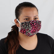 2 Ply Face Mask MADE IN USA Cotton Pattern Washable Masks and Neck Gaiter Matching Set (Neon Pink Leopard)