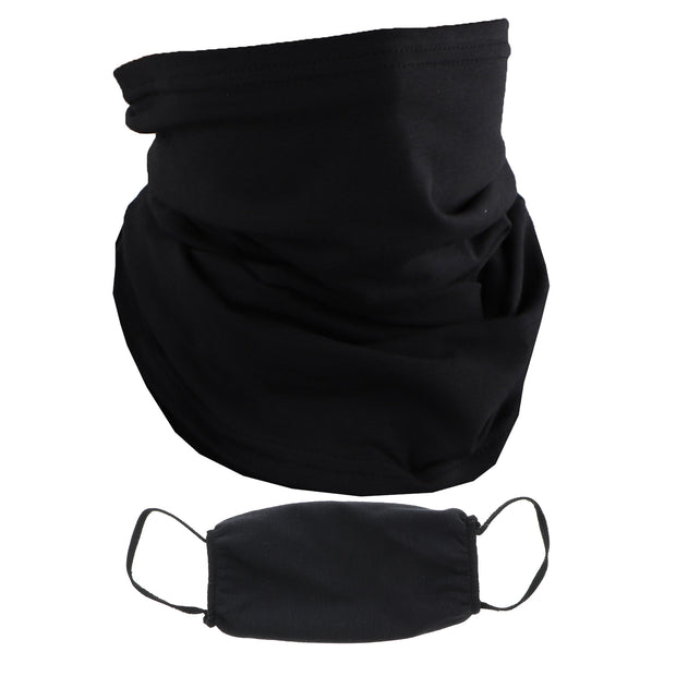 2 Ply Face Mask MADE IN USA Cotton Solid Black Washable Masks and Neck Gaiter Matching Set