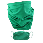 2 Ply Face Mask MADE IN USA Cotton Solid Green Washable Masks and Neck Gaiter Matching Set