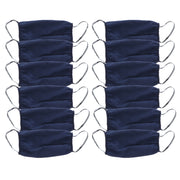 2 Ply Face Mask MADE IN USA Cotton Solid Washable Masks Set Of 12 (Navy)