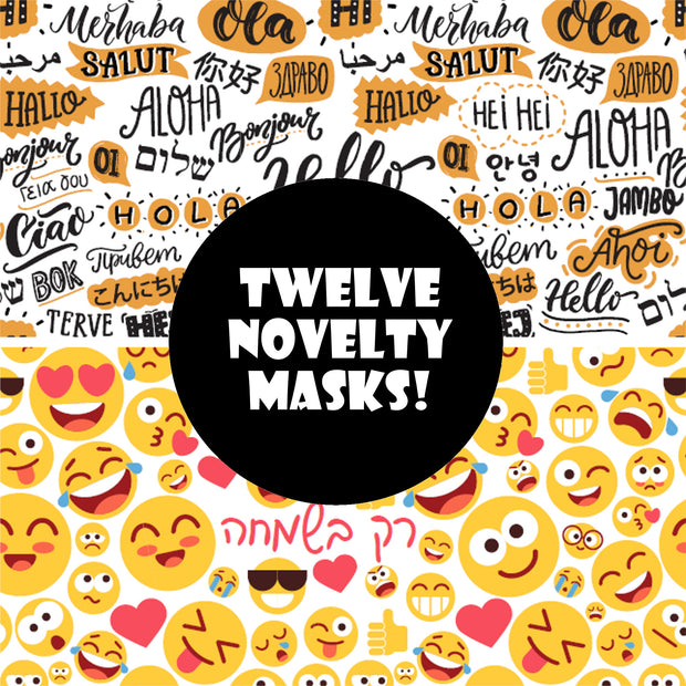 3 Ply Cotton Poly Washable Face Mask, 12 Novelty Masks