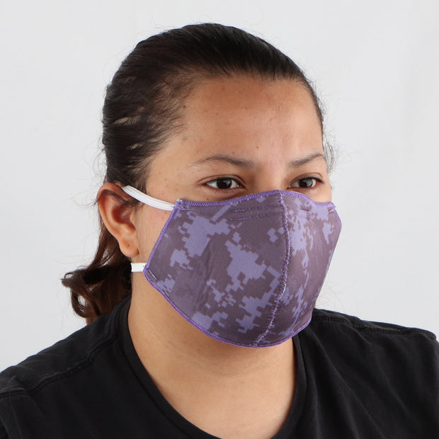 3 PLY COTTON POLY WASHABLE FACE MASK, PURPLE