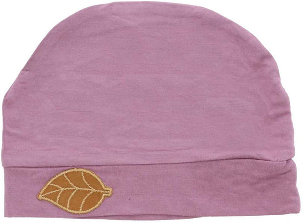 Womens Soft Sleep Cap Comfy Cancer Hat with Tan Leaf Applique