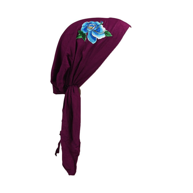 Pretied Chemo Cap with Large Flower Applique