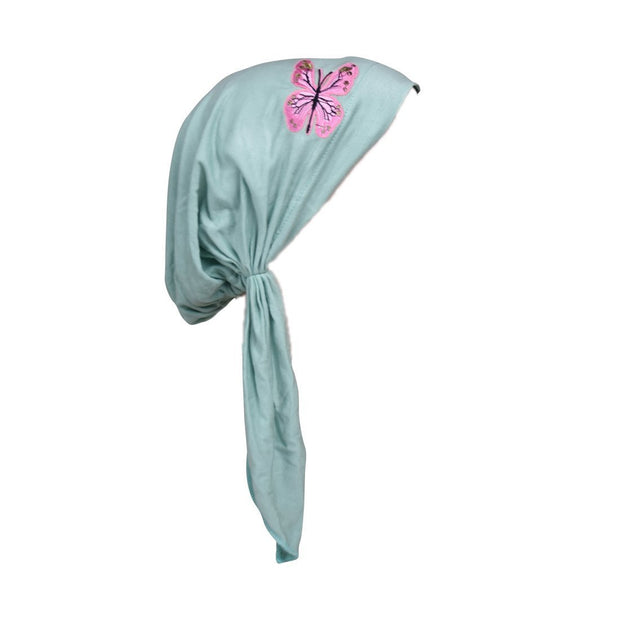 Pretied Chemo Cap with Pink Butterfly