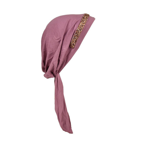 Pretied Headscarf Chemo Cap Modesty with Band of Rose Gems