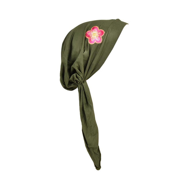 Pretied Headscarf Chemo Cap Modesty Scarf with Pink and Gold Flower