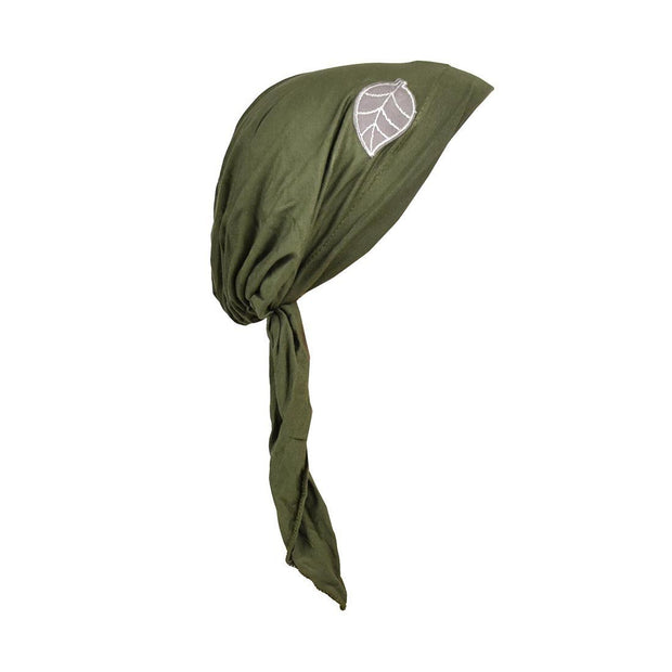 Pretied Head Scarf with Grey Leaf Chemo Cap Headwear