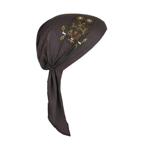 Owl Applique on Child's Pretied Head Scarf Cancer Cap